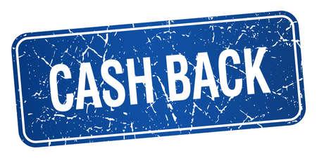 cash back: cash back blue square grunge textured isolated stamp Illustration
