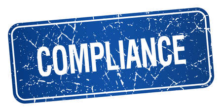 compliance: compliance blue square grunge textured isolated stamp