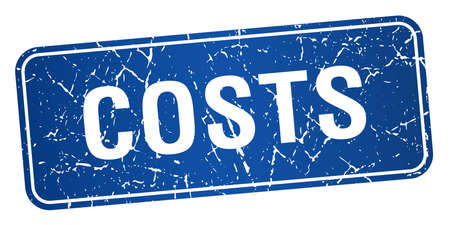 costs: costs blue square grunge textured isolated stamp