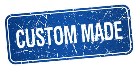 custom made: custom made blue square grunge textured isolated stamp Illustration