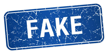 fake: fake blue square grunge textured isolated stamp