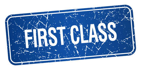 first class: first class blue square grunge textured isolated stamp