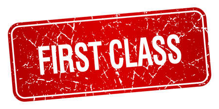 first class: first class red square grunge textured isolated stamp Illustration