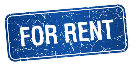 for rent: for rent blue square grunge textured isolated stamp