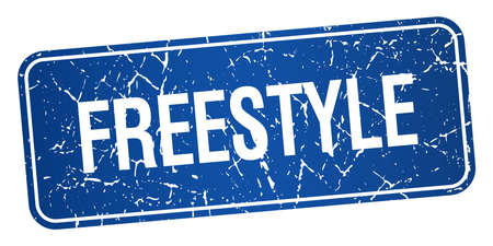 freestyle: freestyle blue square grunge textured isolated stamp
