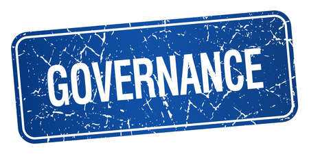governance: governance blue square grunge textured isolated stamp