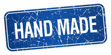 hand made: hecho a mano grunge cuadrado azul con textura aislado sello Vectores
