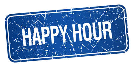 happy hour blue square grunge textured isolated stamp