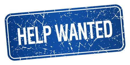 help wanted: help wanted blue square grunge textured isolated stamp Illustration