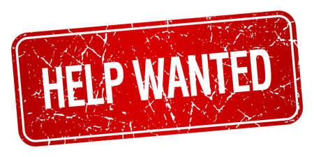 help wanted sign: ayuda quer�a grunge cuadrado rojo con textura aislado sello