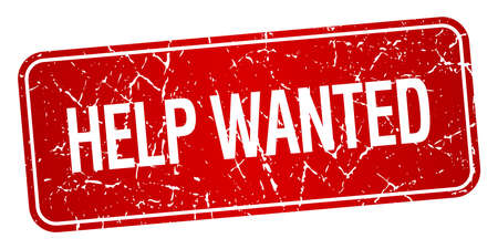 help wanted sign: help wanted red square grunge textured isolated stamp