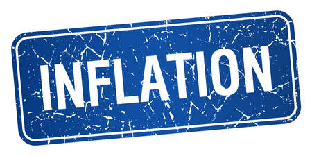 inflation: inflation blue square grunge textured isolated stamp Illustration