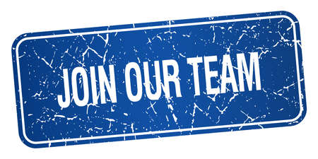 join our team: join our team blue square grunge textured isolated stamp Illustration