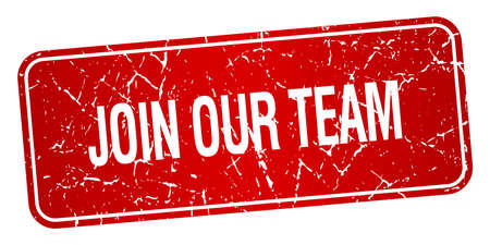 join our team: join our team red square grunge textured isolated stamp