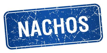 nachos: nachos blue square grunge textured isolated stamp Illustration