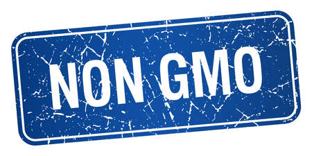 genetically modified organisms: non gmo blue square grunge textured isolated stamp
