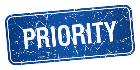 priority: priority blue square grunge textured isolated stamp