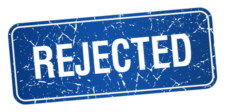 rejected: rejected blue square grunge textured isolated stamp