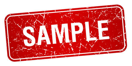 sample red square grunge textured isolated stamp