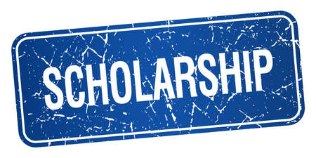 scholarship: scholarship blue square grunge textured isolated stamp