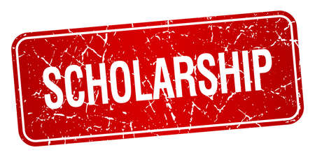 scholarship: scholarship red square grunge textured isolated stamp