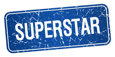 superstar: superstar blue square grunge textured isolated stamp