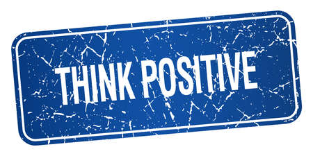 think positive: think positive blue square grunge textured isolated stamp