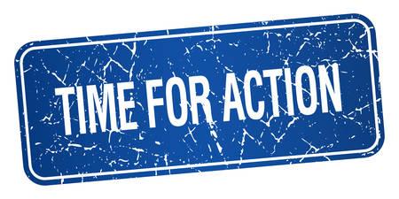 действие: Время действия синий квадратный гранж текстурированной изолированных штамп Иллюстрация