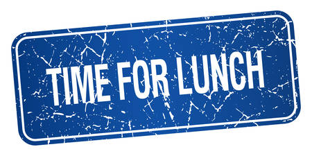 time square: time for lunch blue square grunge textured isolated stamp Illustration