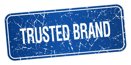 trusted: trusted brand blue square grunge textured isolated stamp
