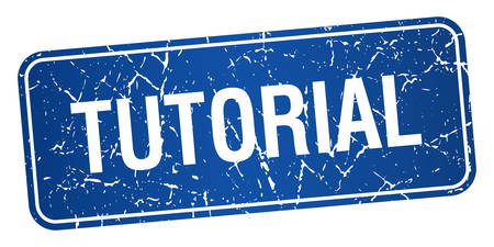 tutorial: tutorial blue square grunge textured isolated stamp Illustration