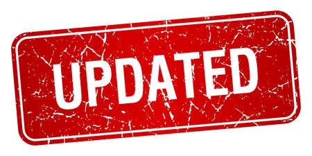 updated: actualizado cuadrado rojo del grunge con textura aislado sello Vectores