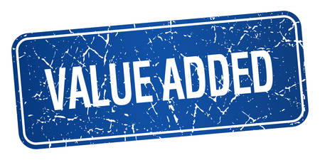 value add: value added blue square grunge textured isolated stamp
