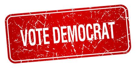 democrats: votar aislado sello dem�crata cuadrado rojo con textura grunge