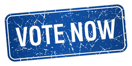 democrats: vote now blue square grunge textured isolated stamp