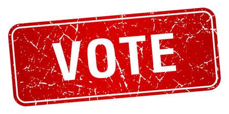 democrats: votar aislado sello rojo cuadrado con textura grunge