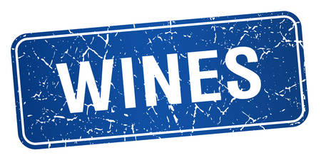 wines: wines blue square grunge textured isolated stamp