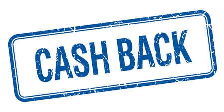 cash back: cash back blue square grungy vintage isolated stamp Illustration