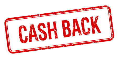 cash back: cash back red square grungy vintage isolated stamp Illustration