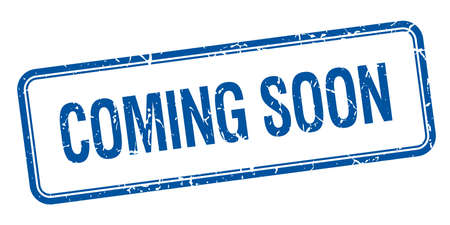 coming soon blue square grungy vintage isolated stamp
