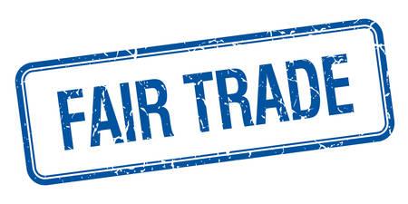 Fair-Trade-blaue Quadrat grungy vintage isoliert Stempel
