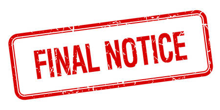 final notice red square grungy vintage isolated stamp