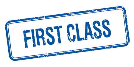 first class: first class blue square grungy vintage isolated stamp
