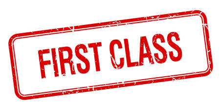 first class: first class red square grungy vintage isolated stamp