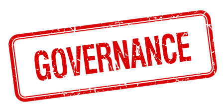 governance: governance red square grungy vintage isolated stamp
