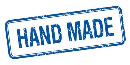 hand made: hecho a mano aislado cuadrado azul de �poca grunge sello
