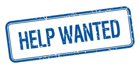 help wanted sign: ayudar cuadrado azul aislado �poca grunge sello querido