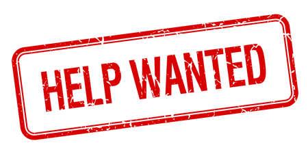 help wanted sign: ayuda quer�a cuadrado rojo de la vendimia aislado grungy sello