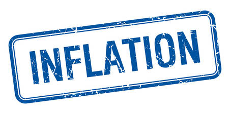 inflation: inflation blue square grungy vintage isolated stamp