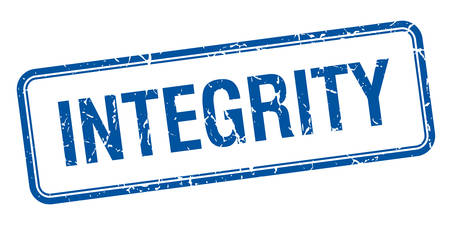 integrity: integrity blue square grungy vintage isolated stamp Illustration